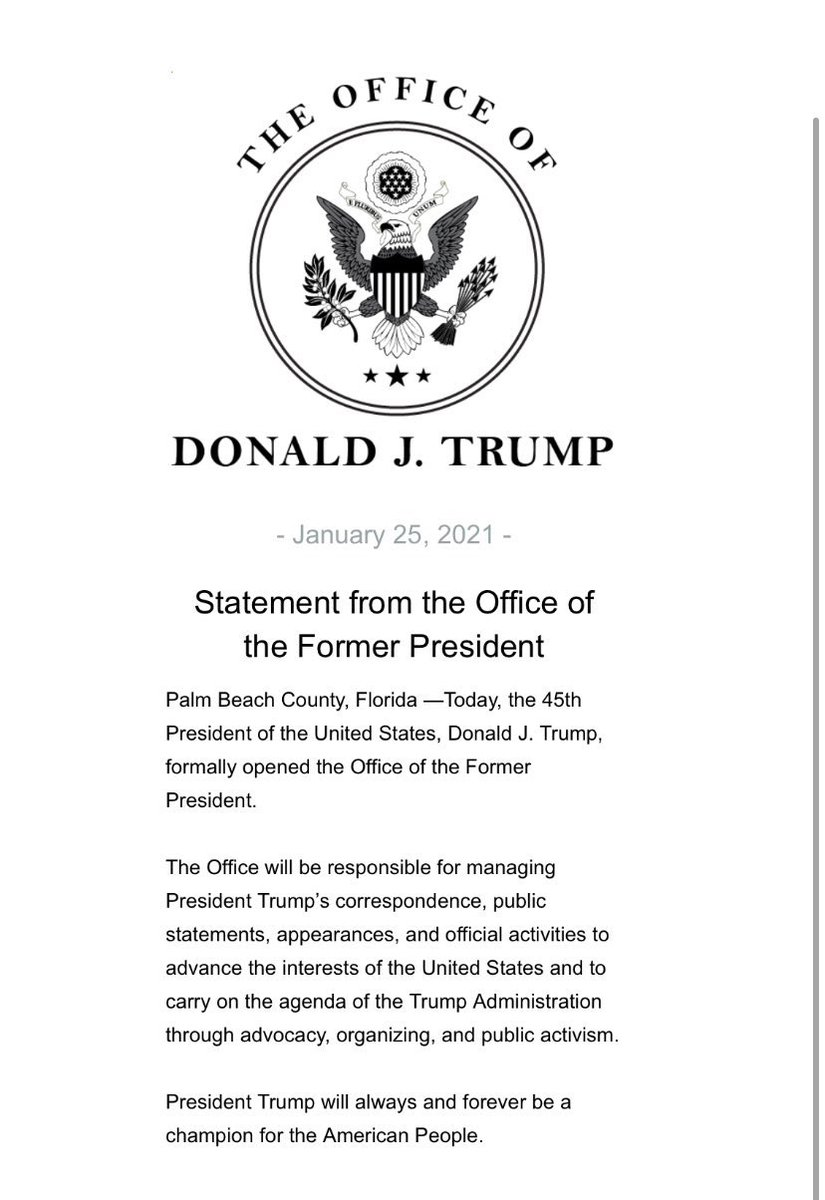 Donald Trump has set up an office in Palm Beach, Florida and is ready for his post presidency