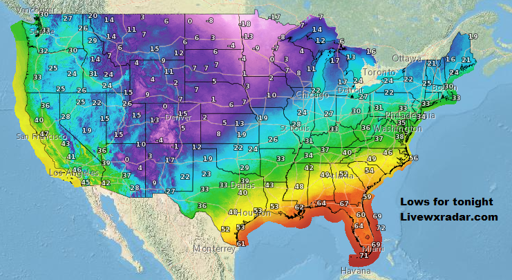 Lows for tonight.      Get latest  Temps and Weather at             #wx #weather  #flooding  #nice    #rain #storm #temps  #Freezing#cooling  #lows #usa  #cold# colder #nws #news #heat   #Tuesday  #week