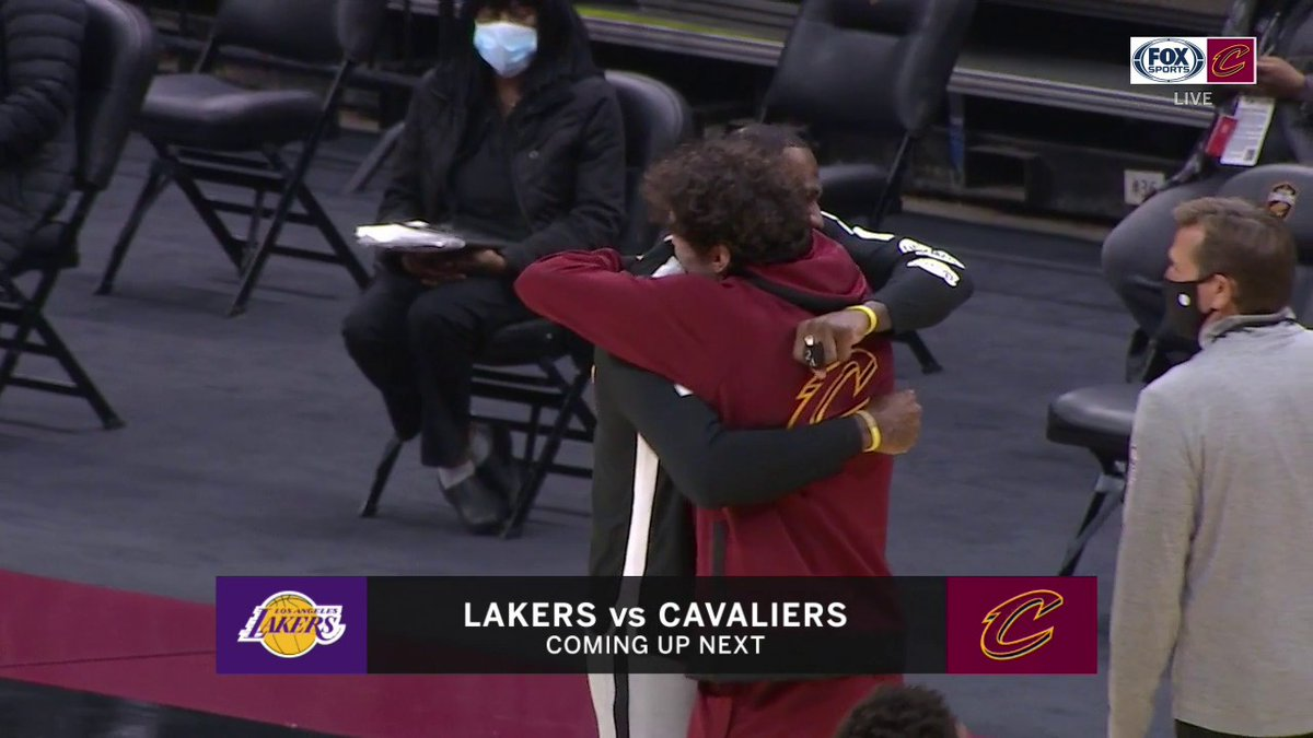 LeBron's reaction when he was reunited with former teammate Cedi Osman 😂  (via @FOXSportsCLE)