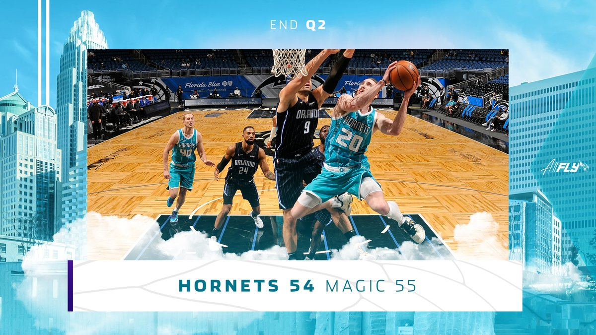 It's a close one at the half. #AllFly  Check out our Gameday Hub on the Hornets app: