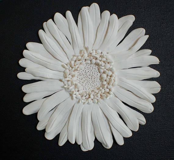 Gerbera Wall Sculpture Textured Nature Inspired White Clay  #sculpture #interiordesign #homedecor #gift #christmas