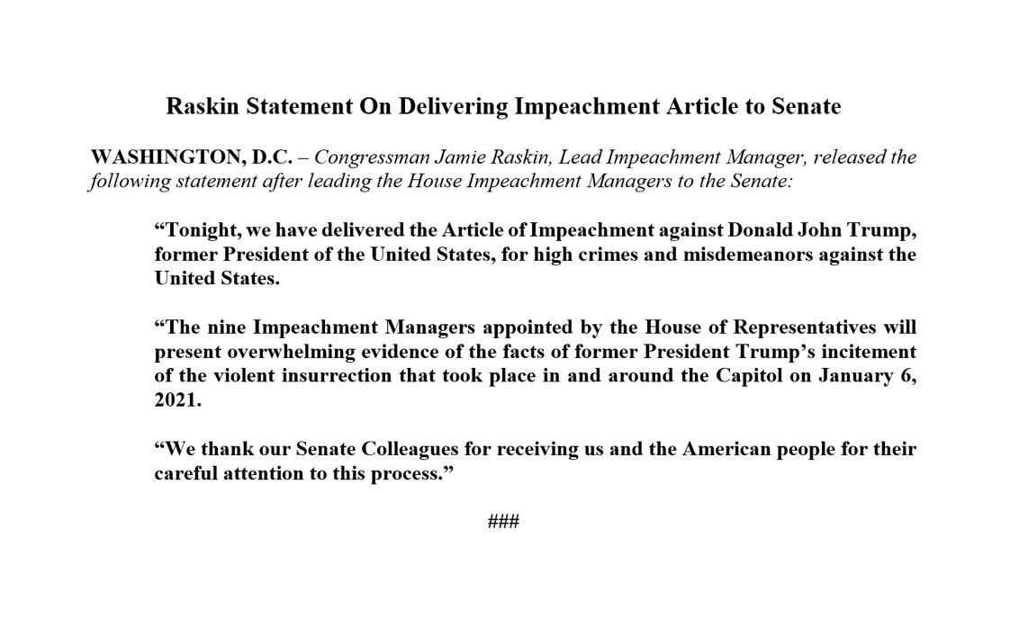 بيان عضو مجلس النواب جيمي راسكين بخصوص تقديم لائحة الاتهام ضد #ترمب الى مجلس الشيوخ  #الكونغرس #الولايات_المتحدة