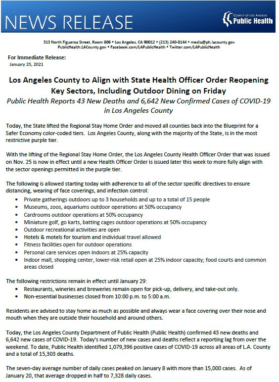 Los Angeles County to Align with State Health Officer Order Reopening Key Sectors, Including Outdoor Dining on Friday  Public Health Reports 43 New Deaths and 6,642 New Confirmed Cases of COVID-19 in Los Angeles County. View