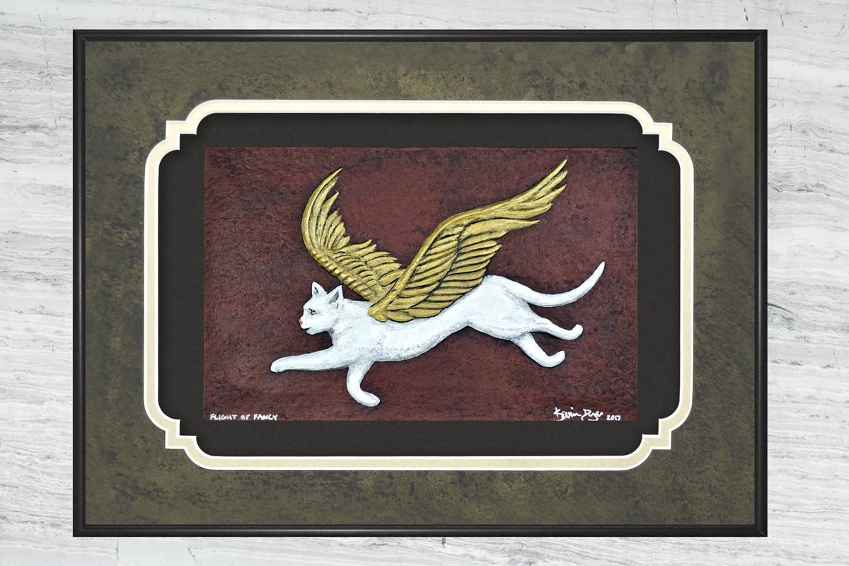 Flight of Fancy - Cast Paper - Fantasy art - Winged Feline- Angel Cat - Kitty Fairy - White Cat  #Art #giftideas #CatAngel