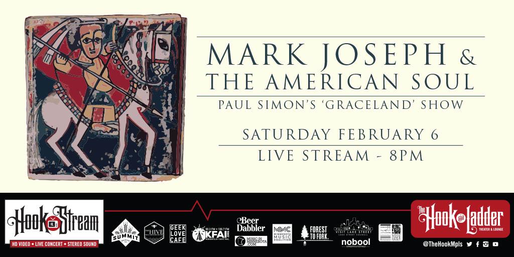 Special 2 set #HookStream feat. @markjosephmusic & The American Soul performing #PaulSimon #Graceland + Originals - SAT, FEB 6! (w/ studio audience!) - STREAM -> https://t.co/bhEfkdXz0x  TIX -> https://t.co/yvifVbxsea  @summitbeer @thehivemn @kfaifmradio @noboolpresents @Mjgpro https://t.co/FcXXKe6OuU