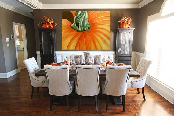 Pumpkin Painting  Pumpkin Macro Closeup Botanical Acrylic  #thanksgiving interiordesign decor acrylic wallart