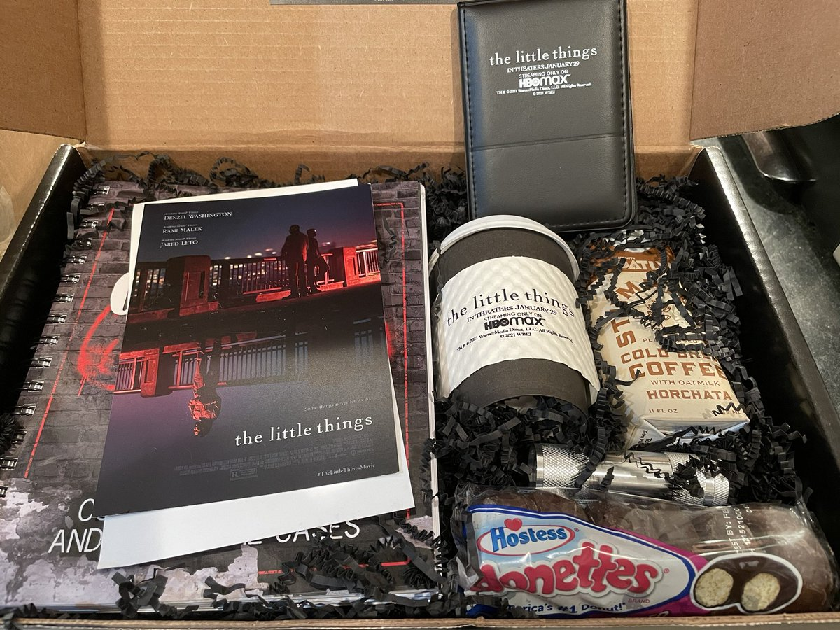 You give me Hostess and I'm excited. #TheLittleThings is coming this Friday. Thanks to my pals there for the goodies.  Starring Denzel Washington, Rami Malek and @JaredLeto. Can't wait. #thelittlethingsmovie