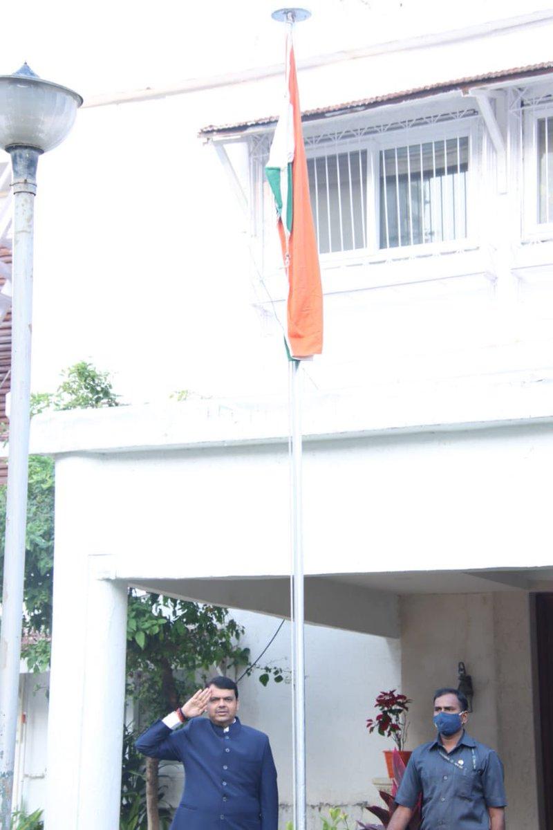 Hoisted the National Flag at my official residence in Mumbai this morning on the ocassion of #RepublicDay  प्रजासत्ताक दिनानिमित्त आज सकाळी मुंबई येथील शासकीय निवासस्थानी ध्वजारोहण केले.