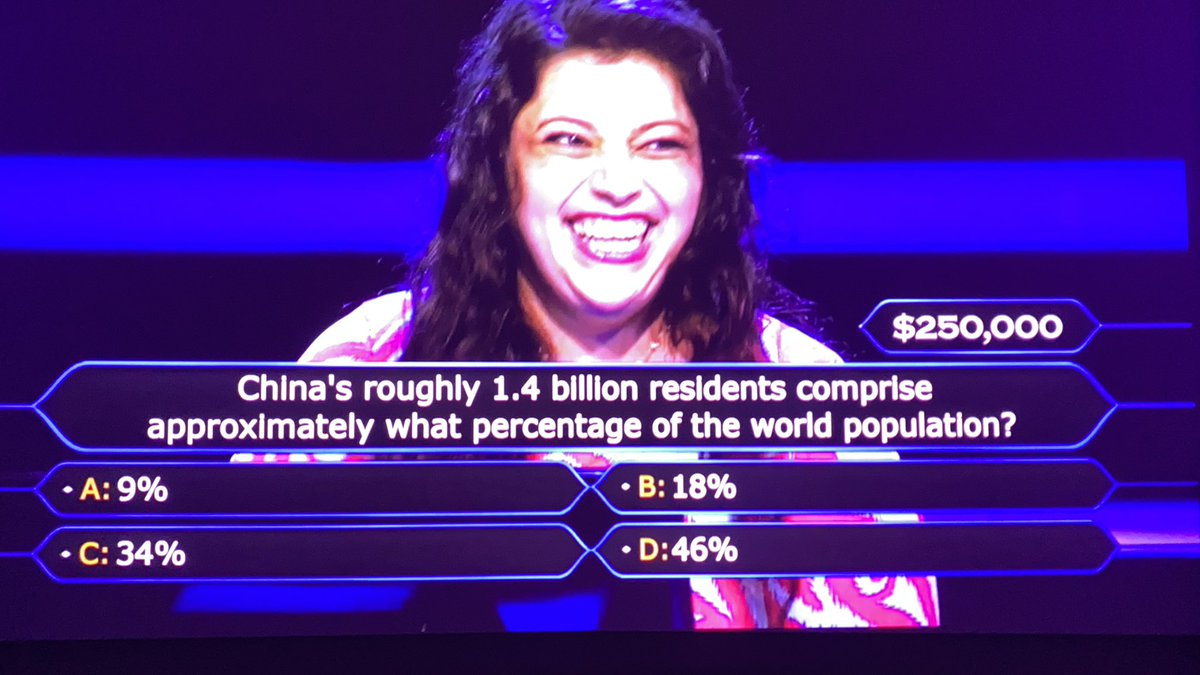 Kind of amazing this is a $250,000 question. It has to be one of the easiest ones. #WhoWantsToBeAMillionaire