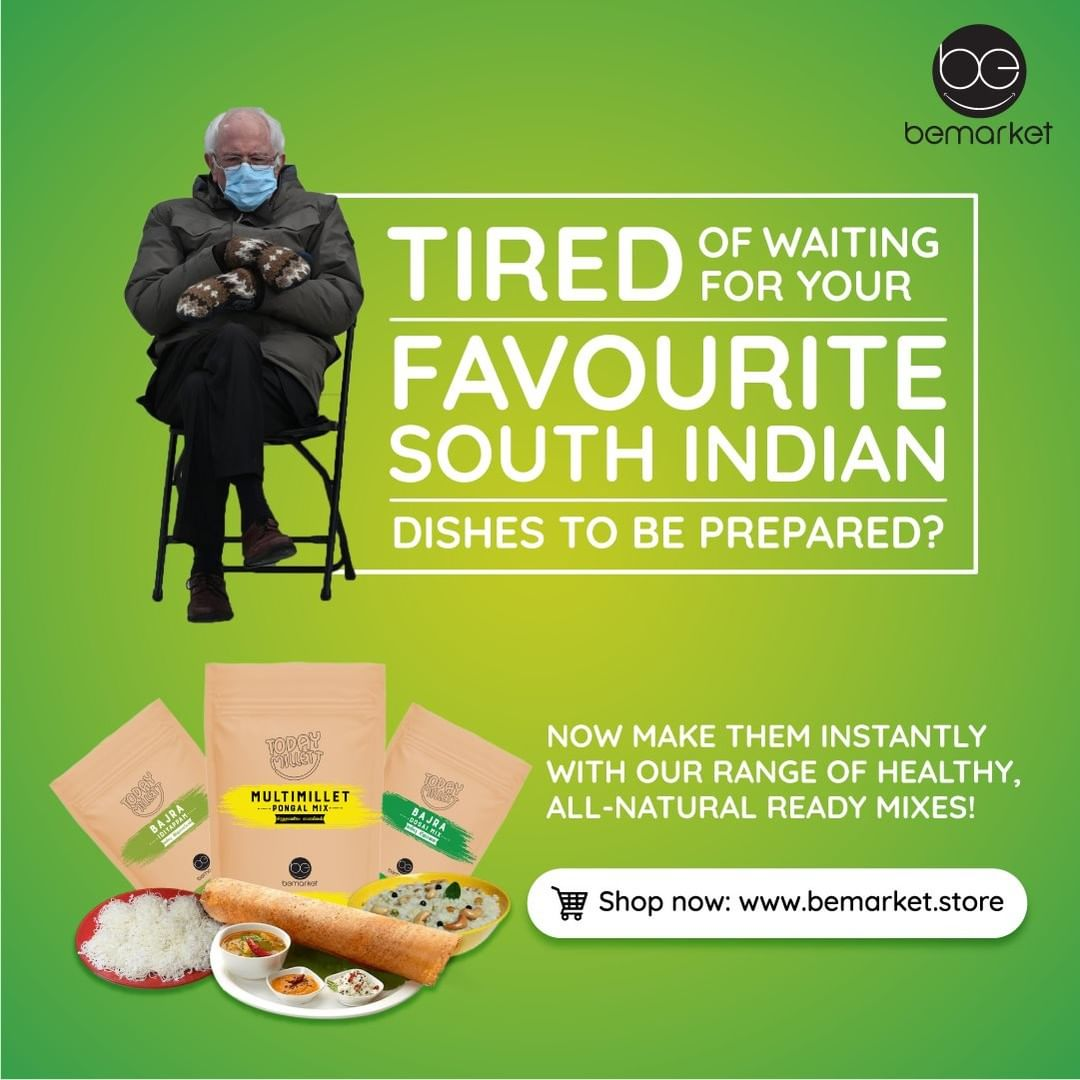 No need to sit through the tedious process of making your favourite South Indian food! Get it done in minutes with our range of healthy ready mixes! #BernieSits #BernieSandersmemes #InstantMix #Pongal #Idiyappam #Dosai  Shop: