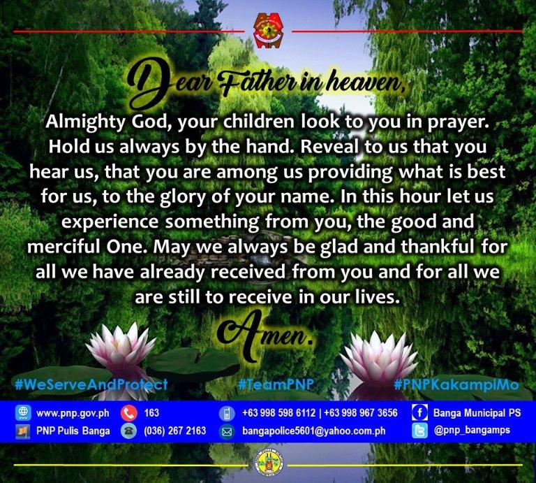 Our Daily Prayer | Huwag po nating kalimutang magpasalamat sa ating Panginoon!   #PNP #ToServeAndProtect #PNPKakampiMo #LetsVoltinAndHealAsOne #StrongerPRO6 #JustBeGoodAtIt #PNPMakadiyos @pnp_aklan @pro6pnp @ordpro6 @pnp_rpcrdpro6 @pnpdpcr