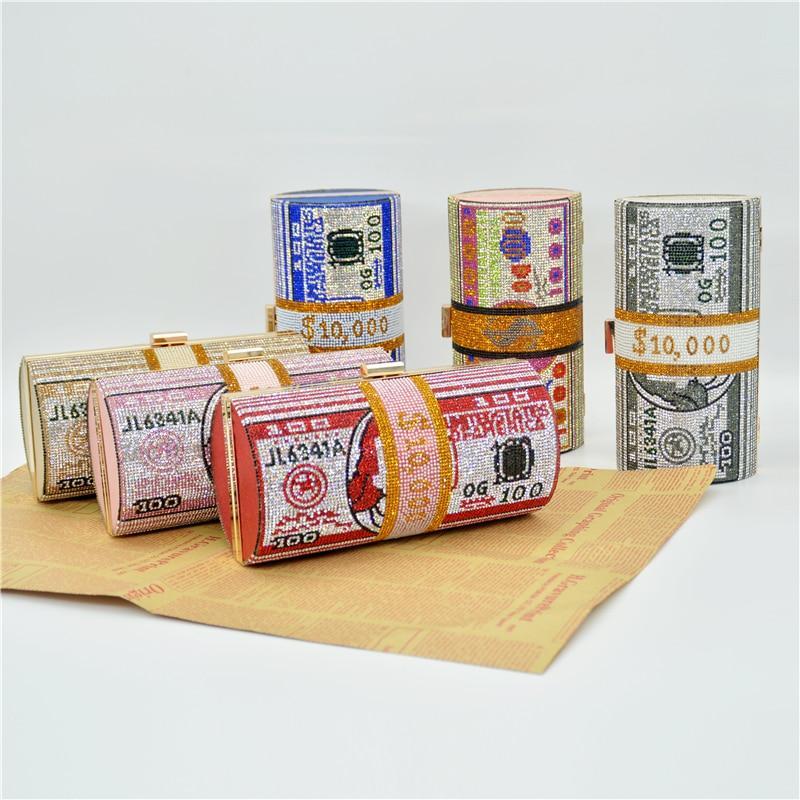 😍😍 Luxury $100 Roll Rhinestone Money Bag Clutch   $60    #Dollfits #fashion #Apparel #Accessories