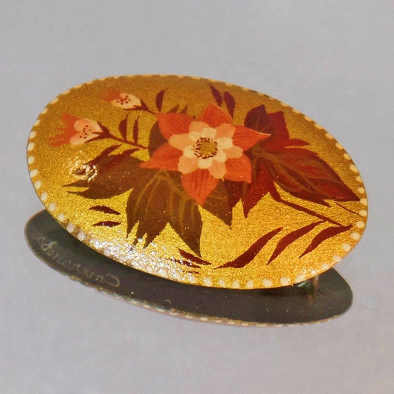 Flower Brooch. Russian Flower Brooch. Signed Hand Painted Black Lacquer Pin. Gold Russian Brooch. #Jewelry for Women. Russian Pin. waalaa. #vintage #antique #shopping #jewellery #gifts #wedding #etsy