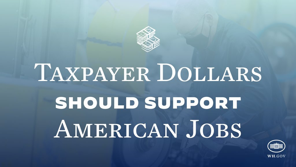 It's simple: When we spend taxpayer money, we should use it to buy products made in America and support jobs here at home. My Buy American Executive Order does just that.