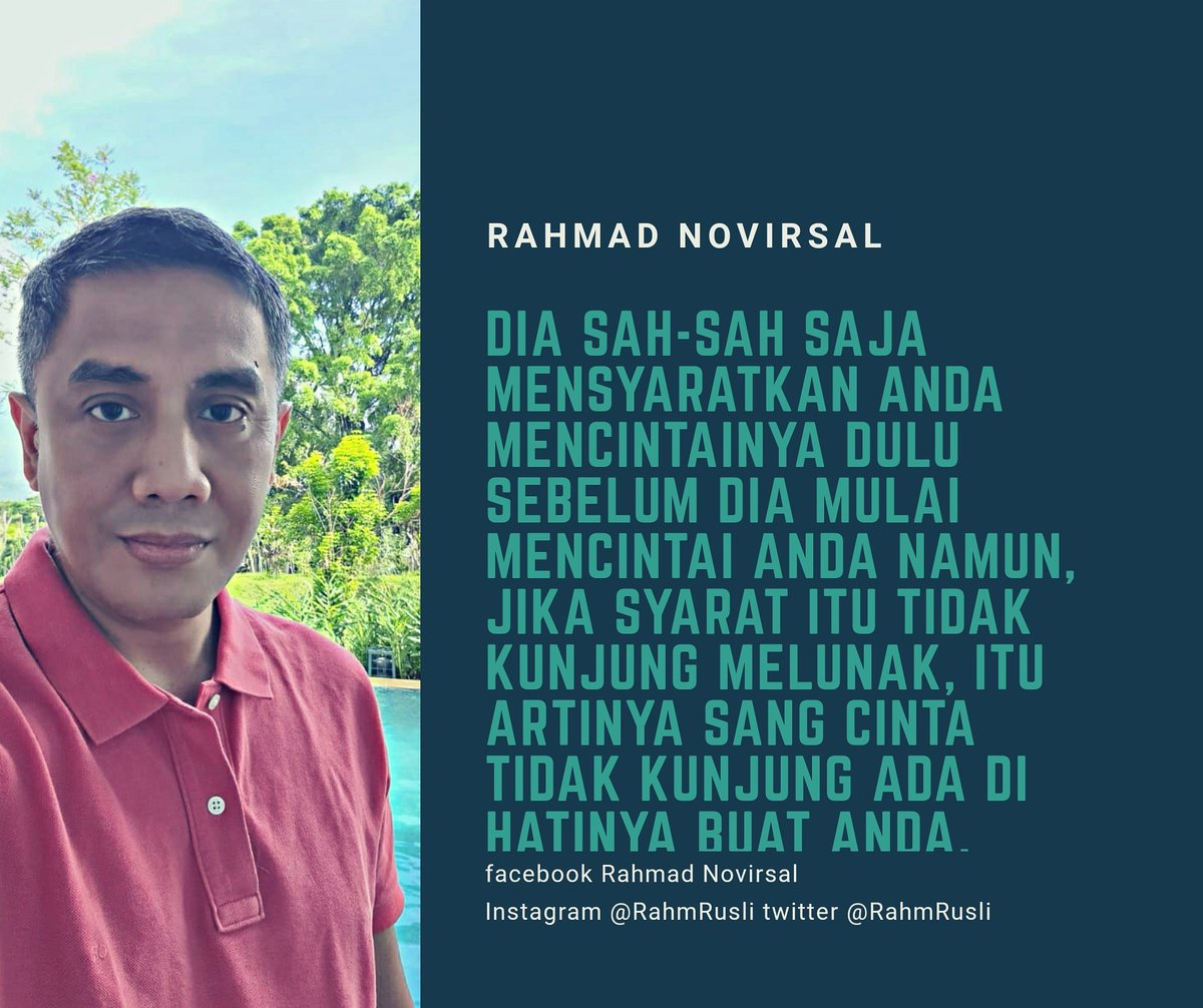 It is fine she requires you to love her before she starts loving you. However, if she does not ever soften her requirement, it means that love is never present in her heart for you.  #rahmadnovirsal #rahmrusli #marioteguh #mtsc #mtmg #parasuhu #pemulihjiwa #groupreboan