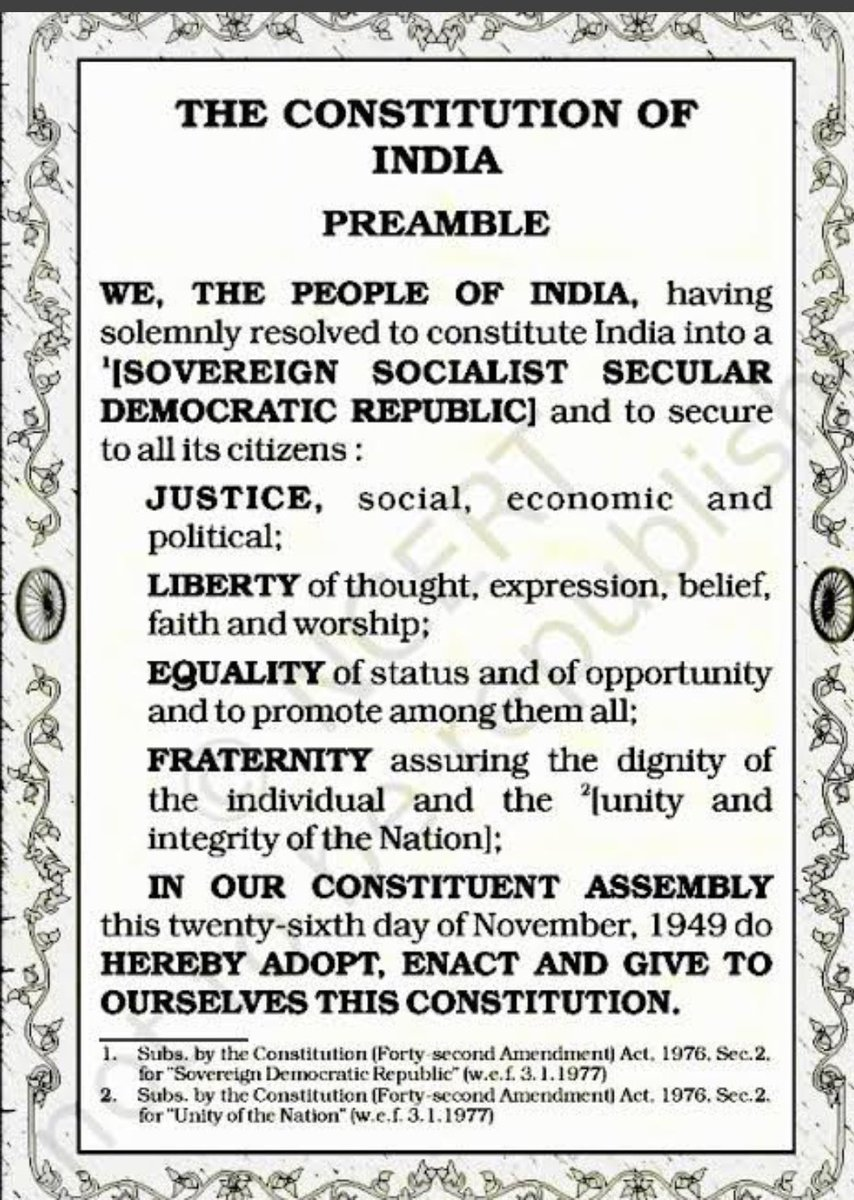 "Preamble of our Constitution begins with ""WE THE PEOPLE"" & ends with ""GIVE TO OURSELVES THIS CONSTITUTION"". A Constit in which no citizen is less than other and each one has right of justice, liberty, equality & dignity.  In a democracy people are supreme. #HappyRepublicDay2021"