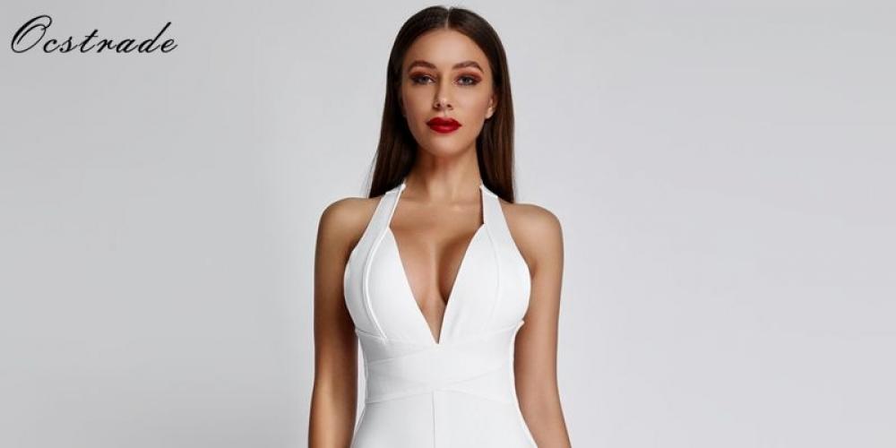#beauty Kikres Ocstrade robes de Bandage blanc 2019 nouveaux arrivants été col en v profond Sexy moulante robe de soirée femmes licou Bandage robe rayonne 354.19 $