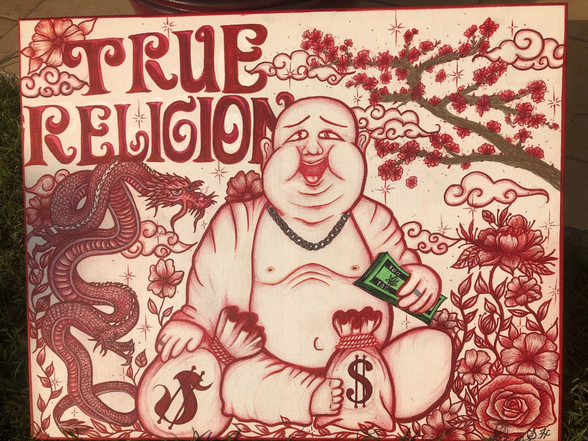 Excited to share this item from my #etsy shop: True Religion Buddha Drawing on a large#stretchedcanvas #red