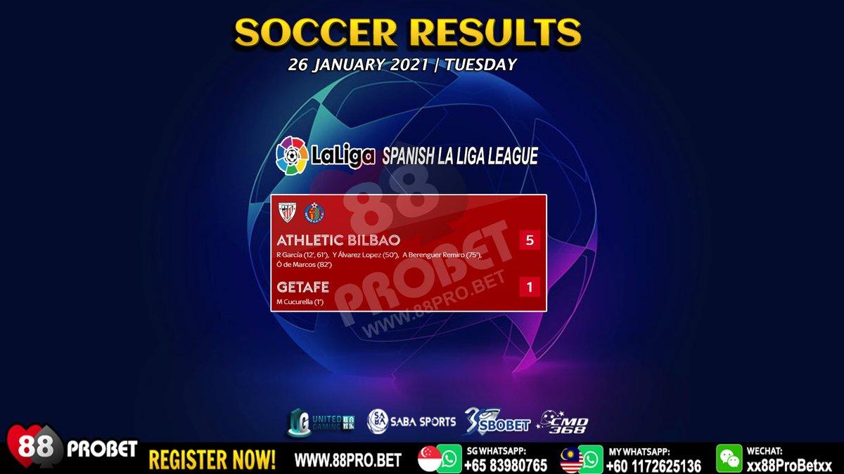 Soccer Results 26 January 2021  Register Now! 💯 🇸🇬 Whatsapp: +6583980765 🇲🇾 Whatsapp: +601172625136 Website: www.88pro .bet  #88Probet #singapore #Malaysia #sports #sportsbook #soccer #football #unitedgaming #sbobet #cmdbet #sabasports #cmd368 #EPL #LaLiga #SerieATIM