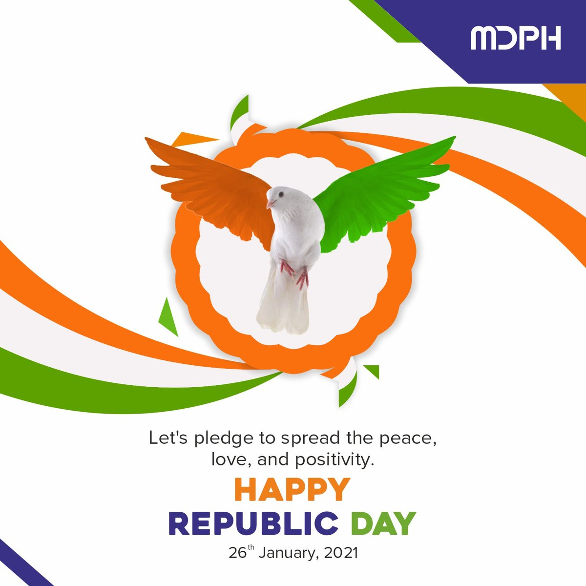 This Republic Day, let's make a promise of channelling only positivity and being kind to yourself and others.  #RepublicDay2021 #RepublicDay #happyrepublicday #republicdayindia #MDPH #RepublicDayParade #company #india #brand #indian #group #photography #fmcg #national #bhfyp