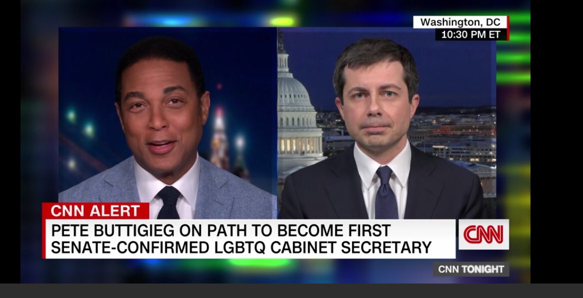 """Just two gay men talking about history in the making. Pete Buttigieg: """"Hopefully it sends a message we belong."""" Also: transgender people are no longer banned from serving in the military. Amazing what a difference a week makes. #DonLemon"""