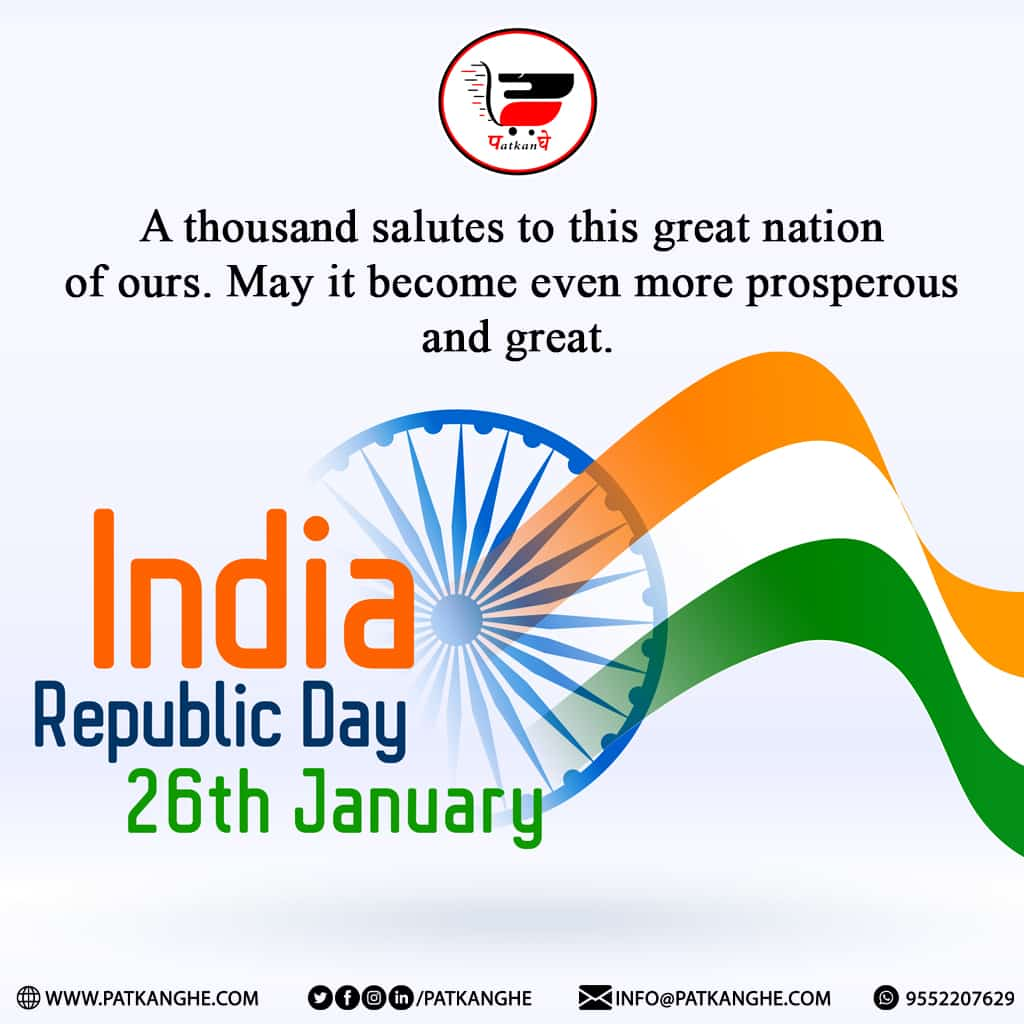 Wish You Happy Republic Day From   . . . . #Patkanghe.com #AnkHub #republicday #wishes #festival #India #happiness #development #service #celebrations #newyear2021