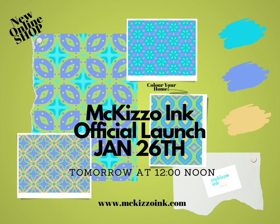 My new online shop, McKizzo Ink officially launches tomorrow at 12 noon  #colouryourhome #bold #patterns #homedecor #socks #facemasks # mugs #bags #beach #tshirts #fun #vintage #hoodies #pillows #journals #artprints #phonecases #designer #designforthebold