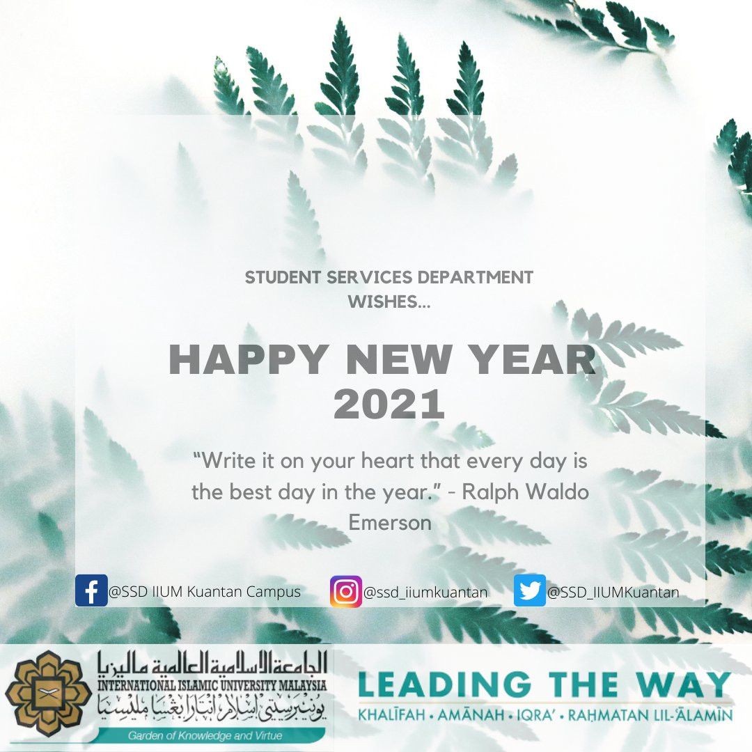 Welcome to Student Services Department IIUM Kuantan Campus! Happy New Year, Start 2021 Strong!😃 #NewYear2021 #ssdiiumkuantan #iiumkuantan #iium