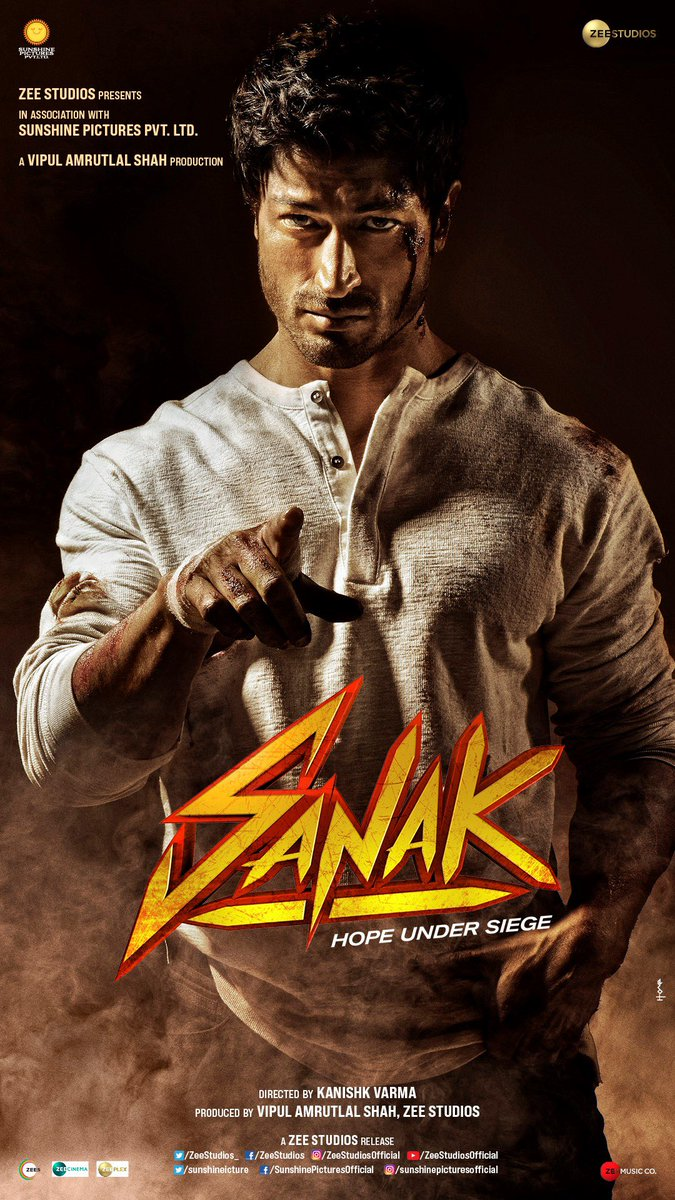 When love is in danger, nothing can stop the rage!  Presenting #Sanak, our next action extravaganza, starring  @VidyutJammwal, @RukminiMaitra, @NehaDhupia and @IamRoySanyal.  Directed by @kanishk_v #VipulAmrutlalShah @ZeeStudios_