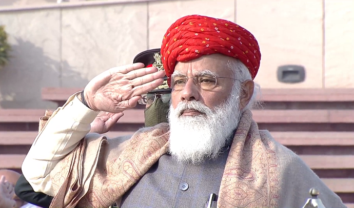Pictures of PM Shri @narendramodi paying homage to the martyrs at the National War Memorial on 72nd #RepublicDay.
