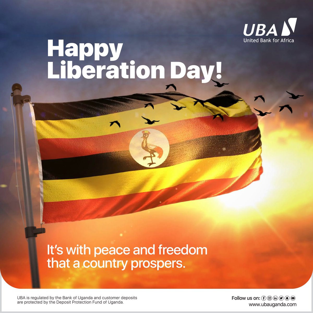 It's with peace and freedom that a country prospers. Happy Liberation Day from all of us at UBA Uganda.  #LiberationDayUganda #HappyLiberationUganda #NRMDay #AfricasGlobalBank