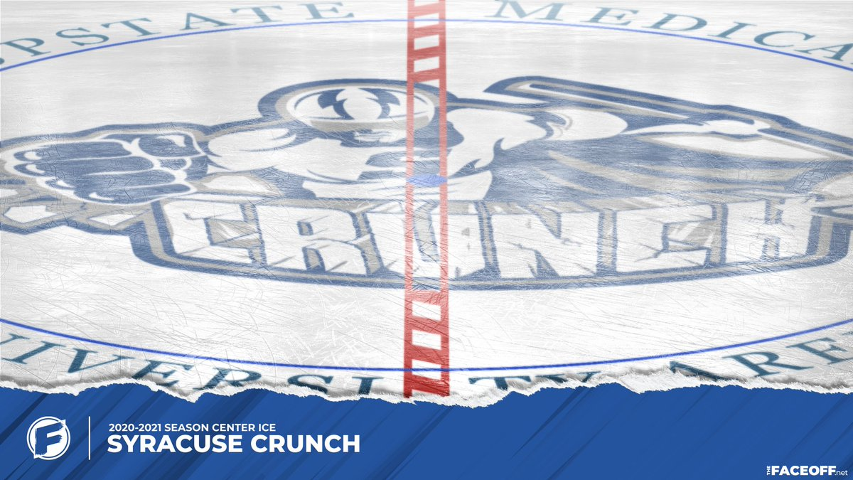 New Center Ice: 2021 Syracuse Crunch, thankfully with a shortened version of their full arena name on ice.     #AHL #SYRCrunch #CenterIce
