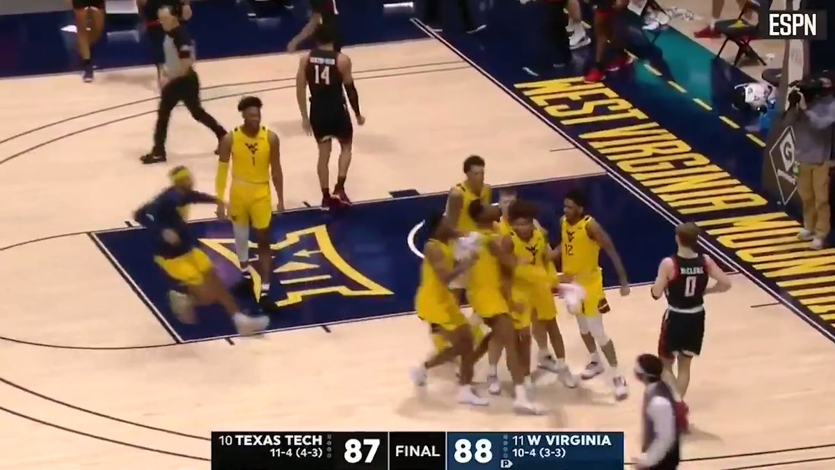 💪 @WVUhoops won a thriller against No. 10 Texas Tech thanks to a late winner from Miles McBride See how it all went down ⬇️