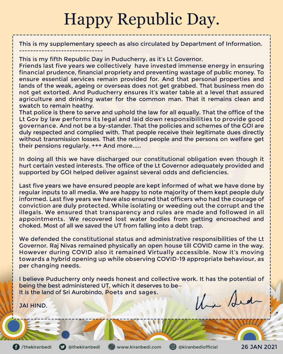 """""""Last five years we collectively have invested immense energy in ensuring financial prudence, financial propriety, and preventing wastage of public money."""":Here's the full text of HLG @thekiranbedi's #RepublicDay Speech @PTI_News @PIB_India @DDNewslive @airnewsalerts @PBNS_India"""