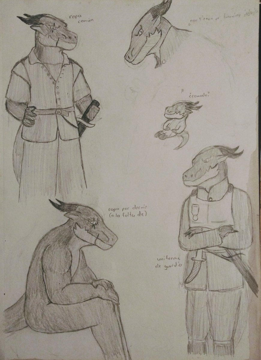 (2/2) Forvull Mapic Living with humans for years before being employed by the diplomats, his clothes are more human (European) than draconic (Indian). Proud and shows off body like many other dragon-folk.  #draconic #art #sketch #fantasy #characterdesign