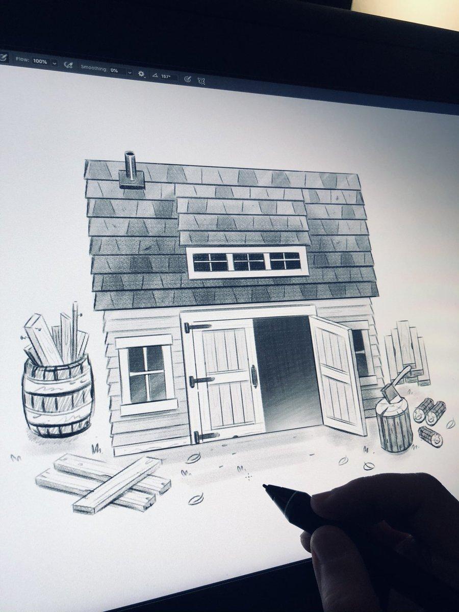 'The Wood Shop' sketch...  🪓🔨🌲🌲🌲  #progress #sketch #sketching #indiegame #indiegamedev #indiedev #indiewatch #unity #unity2d #madewithunity #rpg #retro #8bit #gamedesign #art #photoshop #cintiq #illustration #cute #fun #pixelart #pixel