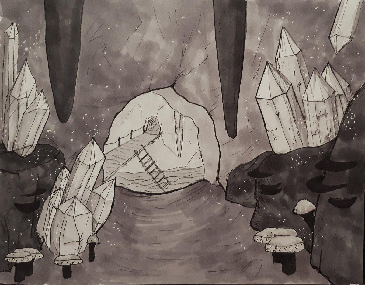 Morrowind cave :3  #morrowind #TES #theelderscrolls #fantasy #art #artistsontwitter #ArtistOnTwitter #teso #eso #fanart #illustration #cave #dungeon #fantasy