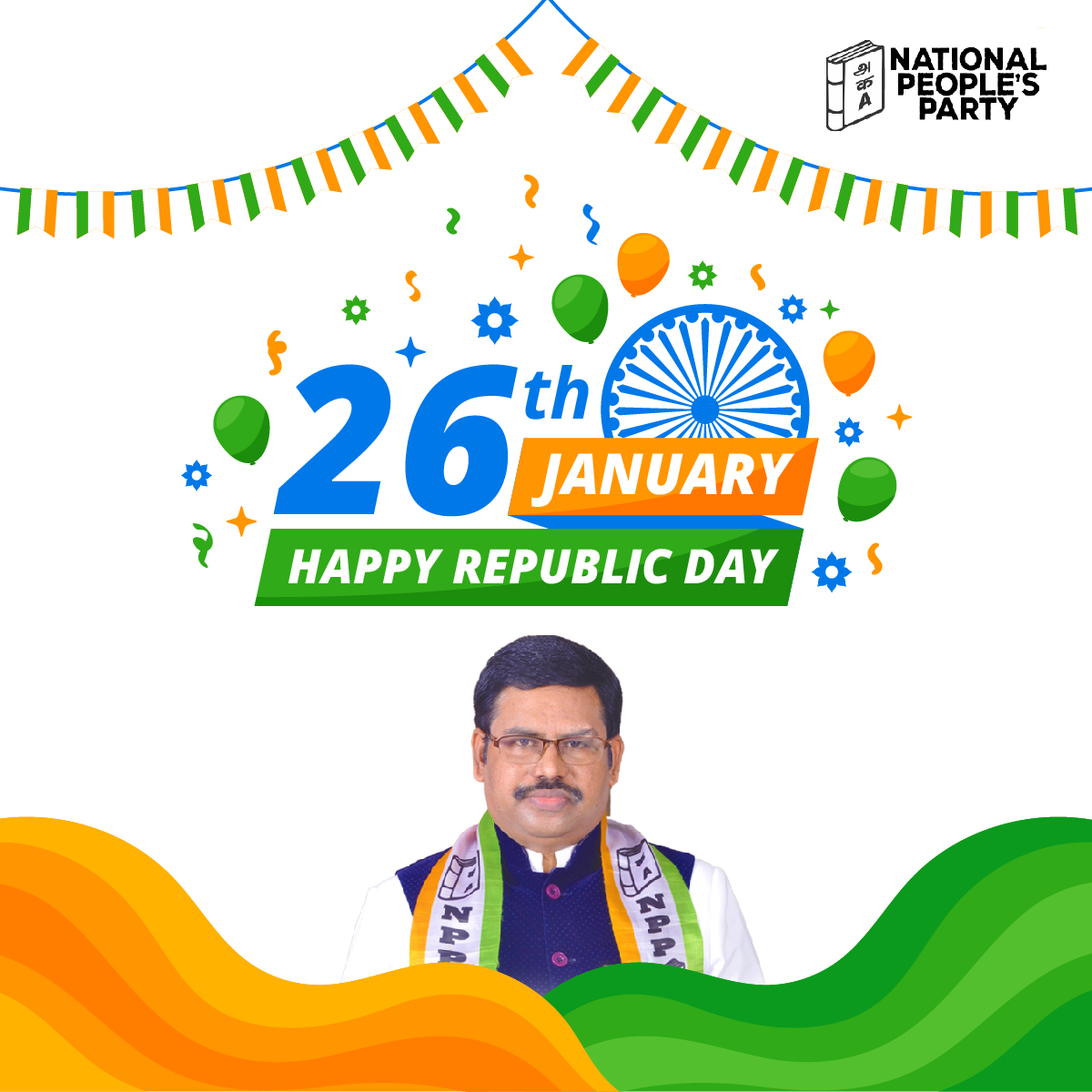 Let the tricolor go high and reach the heights to represent a strong nation on this day. Happy Republic Day!!! #NPP #NationalPeoplesParty #TamilNadu #Youthday #youth #love #community #india #education #leadership #inspiration #peace #motivation #life #republicday #india