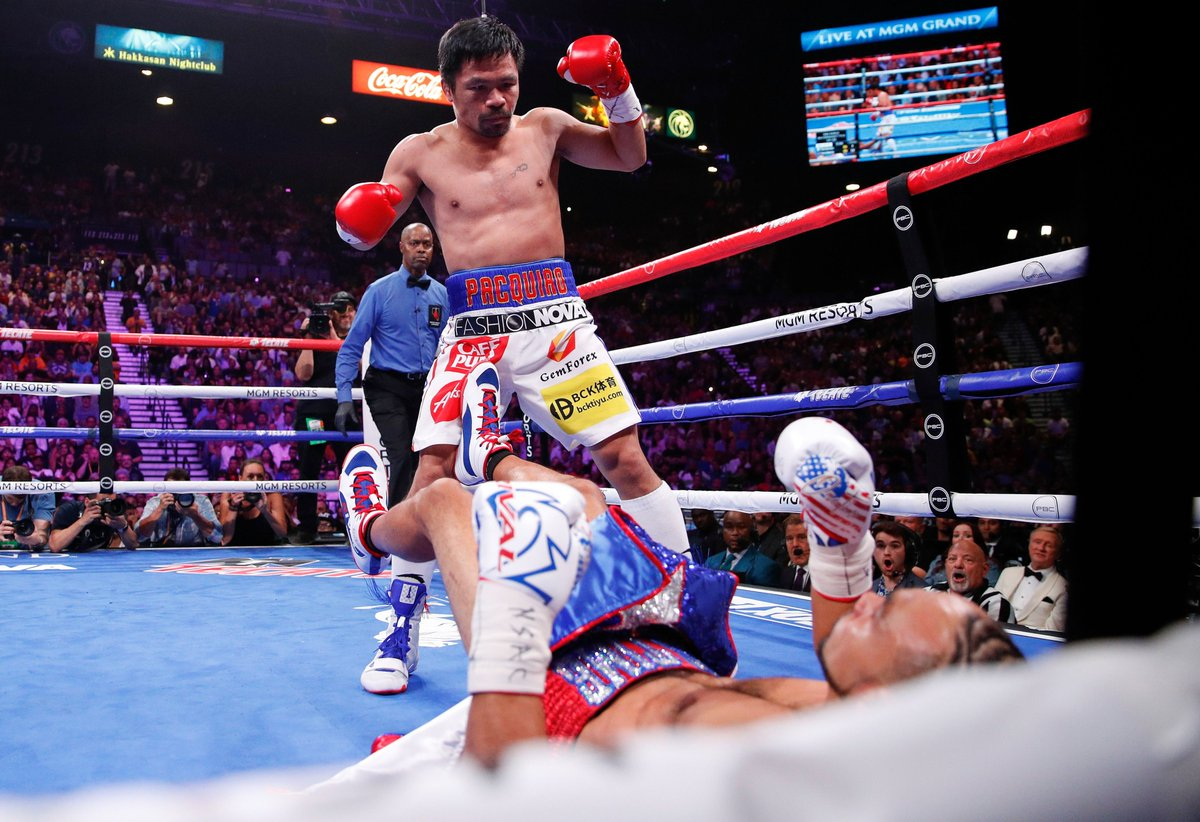 Manny Pacquiao sends Keith Thurman to the canvas in the 1st round of their 2019 encounter, Pacquiao's most recent fight, which he won by split decision #boxing #history