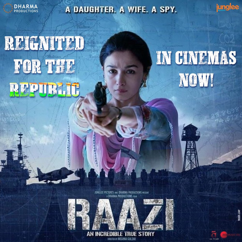 Celebrate this Republic week with #Raazi! The extraordinary story about an ordinary girl is releasing again in select cinemas. Don't miss the special screening!