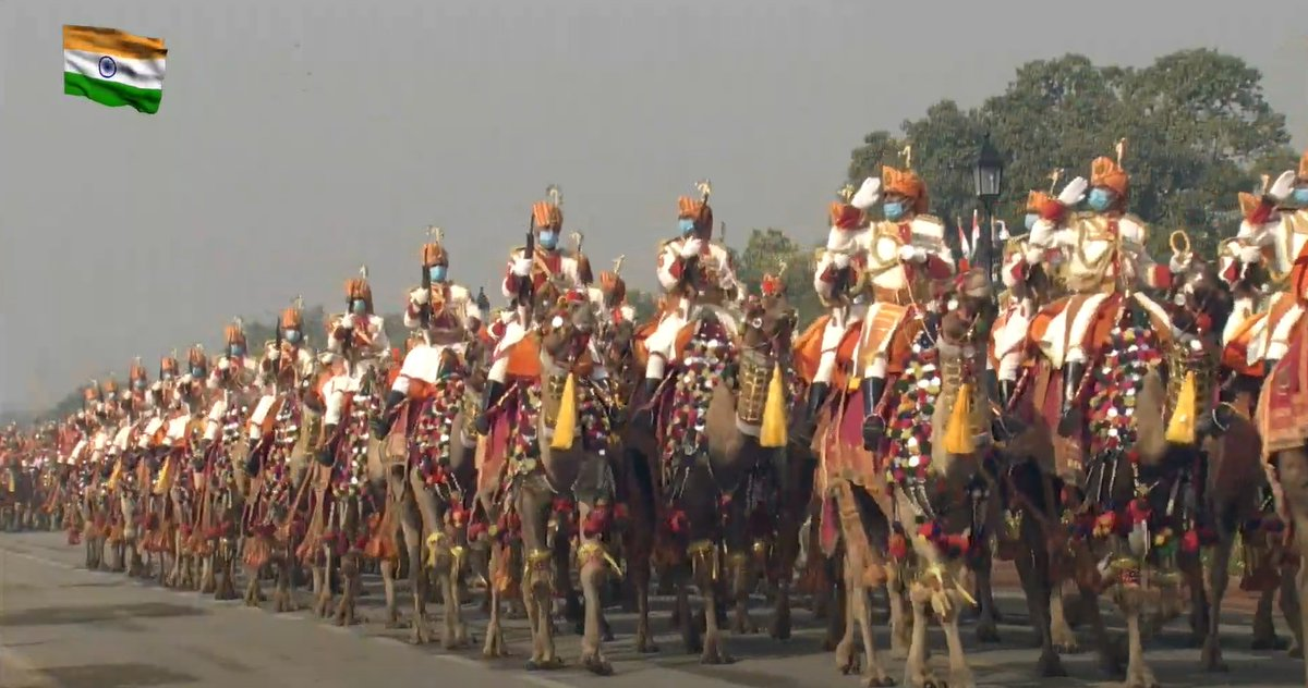 Replying to @DDNewslive: A sight to behold!  @BSF's Camel Contingent and Band at the #RepublicDay parade