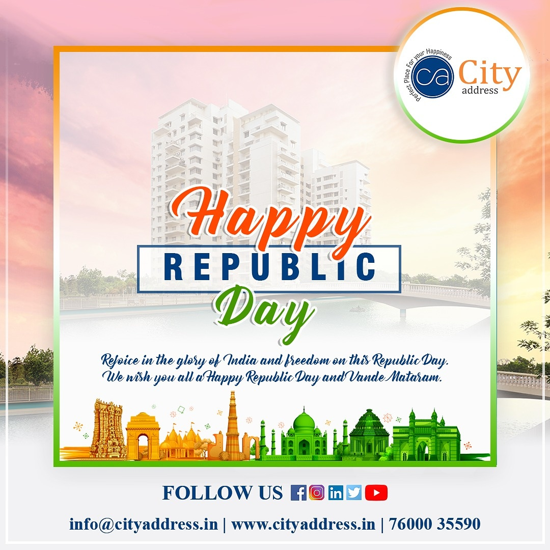 Team City Address Realty wishes you all Happy Republic Day.  #cityaddress #cityaddressrealty #teamcityaddressrealty #RepublicDay #RepublicDay2021 #RepublicDayIndia #republicdayofindia #IndianRepublicDay #ARMY #realestate
