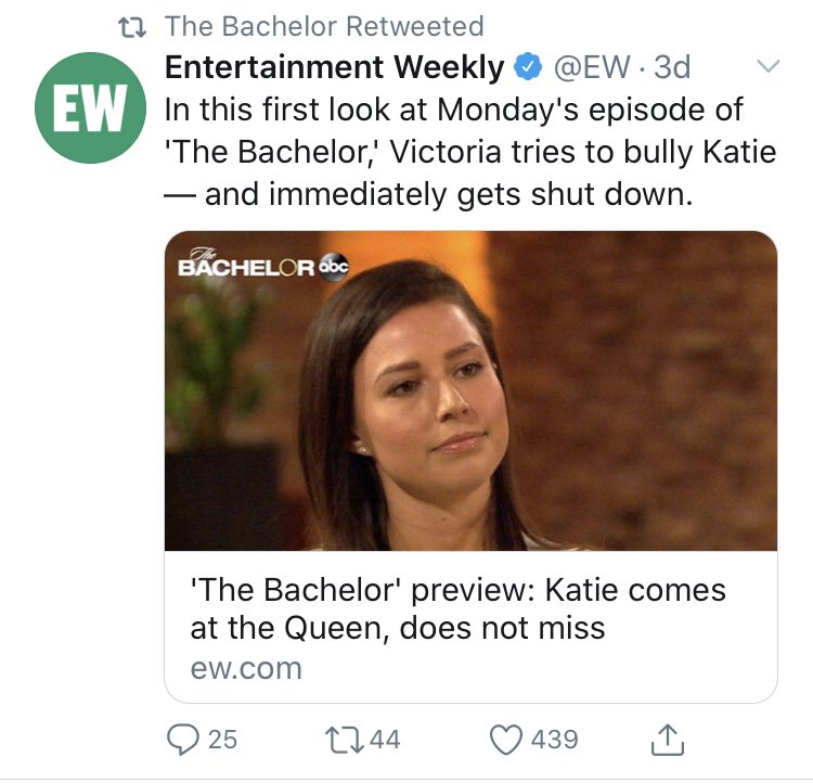 lol that @BachelorABC retweeted this @EW article! There has been so much ugliness and bullying this season that obviously hasn't been stopped or discouraged. Remember when #TheBachelor @chrisbharrison had @TheRachLindsay talk about anti-bullying? Guess they forgot too.