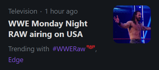 #WWERaw   Yeah it airs every Monday night  Get your shit together, Twitter