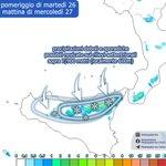 Image for the Tweet beginning: Situazione meteo #Palermo tra oggi