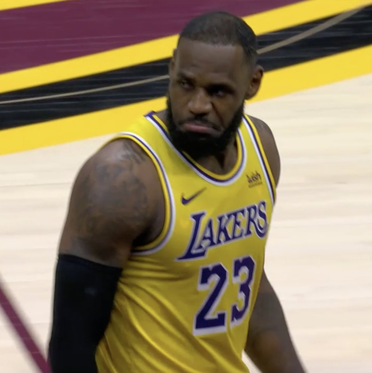 """""""He was a little bit too excited about seeing me miss. ... The good thing for him is I only come here once.""""  LeBron says a member of the Cavs front office celebrated after he missed the shot at the end of the third.  Bron went on to score 21 in the fourth 😳"""