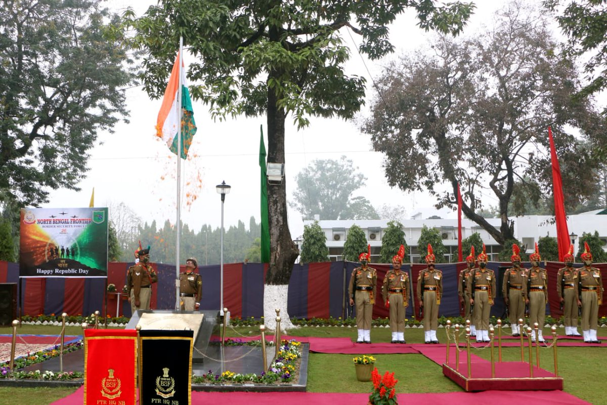 Republic Day Celebrations. 72nd Republic Day was celebrated by @BSFNBFTR.  Dr. Nirmal Kumar, IG(Med), #CH hoisted the national flag at Ftr HQ BSF NB Kadamtala. Sh. Rajiva Ranjan Sharma, DIG(G) & other senior officers of @BSFNBFTR  were also present during the ocassion.  #JaiHind