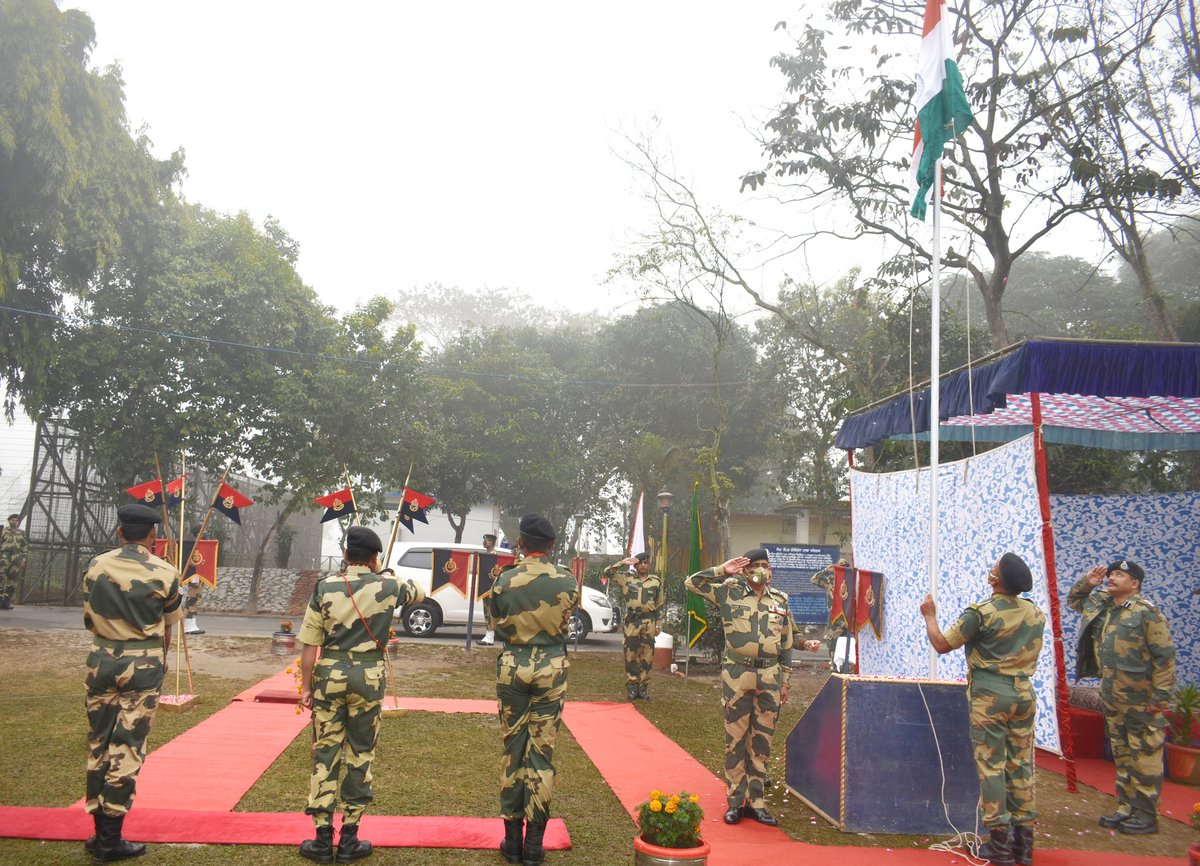 Republic Day Celebrations @BSFNBFTR 72 nd Republic day celebrations and flag hoisting at border out post by Sh. Sunil Kumar, IPS, IG @BSFNBFTR. #Reaffirming our commitment to unity in diversity, fraternity and equality towards our nation. #JaiHind  @BSF_India @HMOIndia