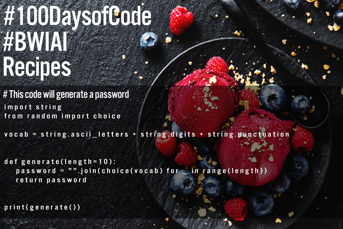 100 Days of Code/ Day 25 - #Recipes #100DaysOfCode #BWIAI #code #fintech #IoT #Python #Tech #Robotics #Foodies #gamer #algorithms #STEM #Motivation #coding #AI #agetech #NBA #Tyrese #ArtificialIntelligence #VR #NFL #fashiontech #WomenInTech #TechNews #inspiration @BlackWomenInAI