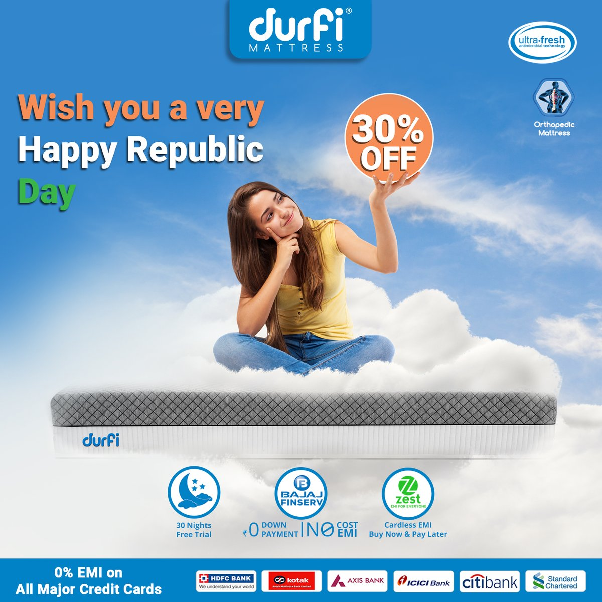#RepublicDay🇮🇳 #Sale🛍️ is live right now. Celebrate this Republic Day by saying No to back pain and sleepless nights and YES to #healthy👩‍⚕️ #sleep😴 with Durfi mattress at flat 30% Off with 0% EMI, BajajFin. Buy from: Durfi: